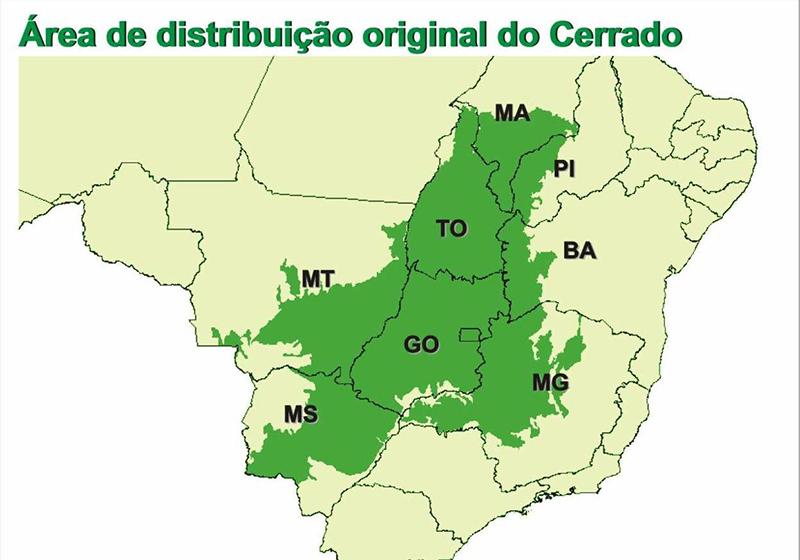 área de distribuição original do Cerrado