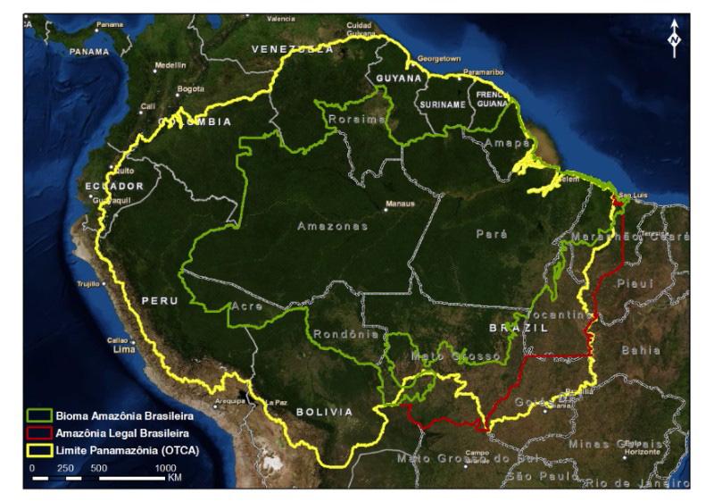 Mapa da região Pan-Amazônica