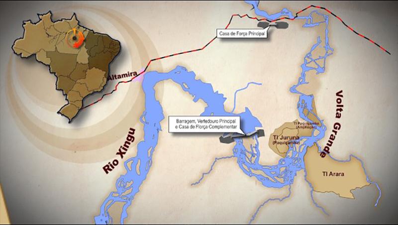 Mapa ilustra a localização de Belo Monte(Fonte: Catraca Livre)