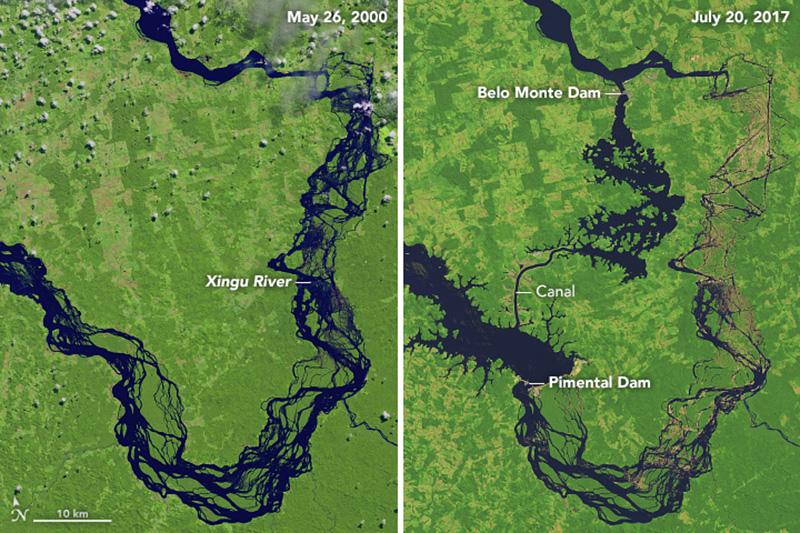 Satélite da NASA mostra o rio Xingu antes e depois da Usina de Belo Monte(Foto: Joshua Stevens | Observatório da NASA)