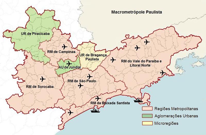 As partes coloridas do mapa mostram a Macrometrópole Paulista
