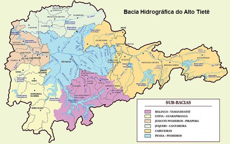 Mapa: Bacias do Alto Tietê