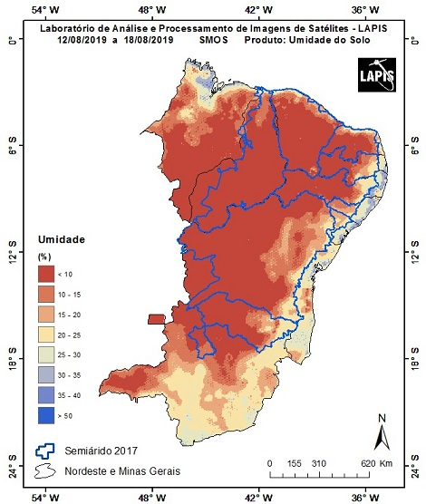 Imagem de satélite de agosto passado que demonstra a umidade do semiárido |Fonte: Divulgação Lapis