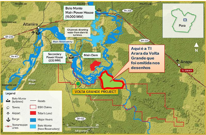 Mapa mostra sobreposição de Belo Sun (Fonte: MPF)