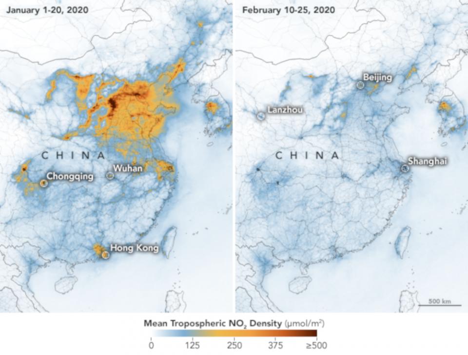 coronavírus e a diminuição de poluentes na China