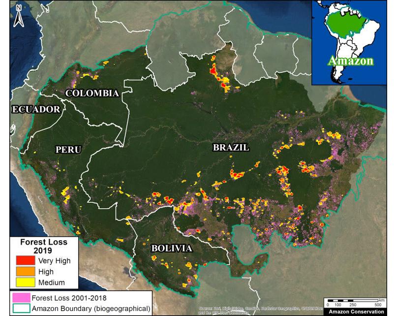 Principais pontos de degradação florestal na Amazônia em 2019. (Foto: MAAP com dados de UMD GLAD, Hansen UMD Google USGS NASA e MAAP)