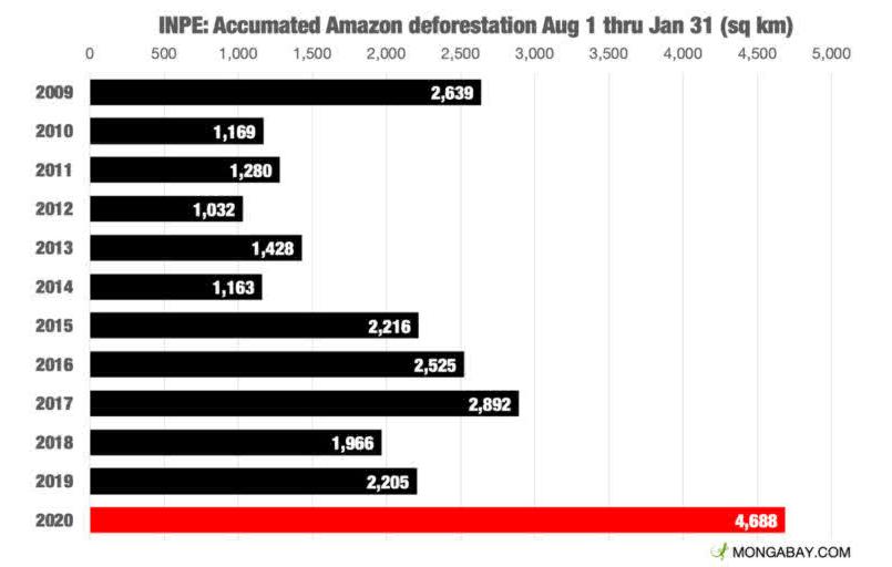 Área desmatada (em km2) em períodos entre agosto e janeiro nos últimos 12 anos. (Foto: Inpe)