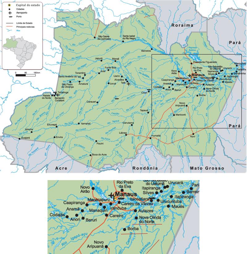 Mapa do Amazonas, destaque aos municípios de Nova Olinda do Norte, Borba e ao Rio Abacaxis, ao sudeste de Manaus (Fonte: GuiaGeo)