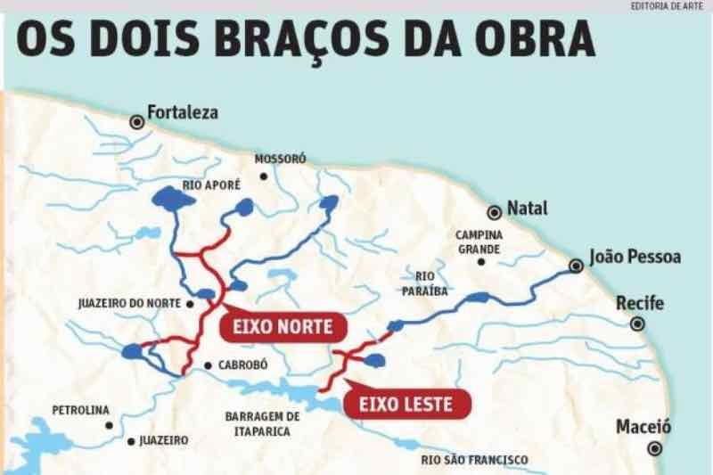 Dois eixos da Transposição do Rio São Francisco (Foto: O Tempo)
